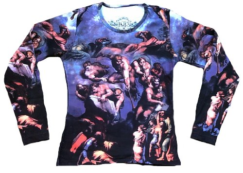 In Nomine Patre Damen Lady Designer Langarm Longsleeve T-Shirt Blau Detail vom Das Jüngste Gericht von Michelangelo Detial from The fresco of the Last Judgement Engel Trompeten Halleluja Kunst Art Religion Super Star Designer ViP Rockstar Vintage Tattoo Design M 38/40