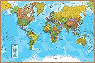 "Waypoint Geographic Blue Ocean World Wall Map (24"" x 36"") - Current UP-to-Date - 1000's of Named Locations & Points of Int..."