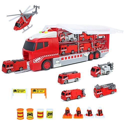Fajiabao Coches de Juguetes Camion Bomberos-Transportador de Coches Incluye 5 Mini Camiones de Juguete,1 Helicóptero Juguete y Señales de Tráfico Regalo Niños Niña 3 4 5 Años