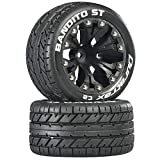 Duratrax DTXC3544 Bandito RC Staduim Truck Tires with Foam Inserts, C2 Soft Compound, ST 2.8' Mounted on 1/2' Offset Black Wheels (2 Tires)