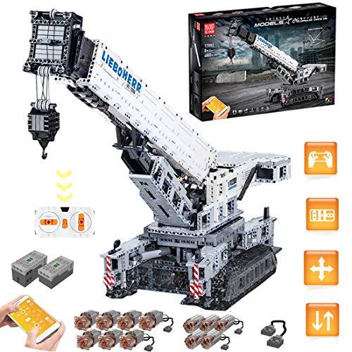 HYZM Technic Liebherr - Grúa de construcción (4000 piezas), 2.4G de control remoto grúa LTM-11200, juego de construcción avanzada con motores y Bluetooth
