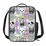 Vunko French Bulldog Insulated Lunch Bag for School Work Office Picnic Puppy Dog Tote Lunch Box Containers for Adults and Kids Compact Reusable Cooler Bag with Shoulder Strap