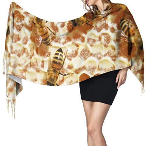 Bijen honing bijen honingraat kammen bijenkorf Womens sjaal lichtgewicht lichtgewicht reizen sjaal grote kasjmier sjaal 77