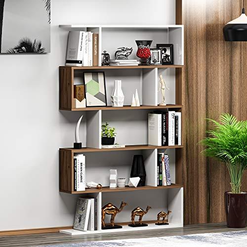 HOMIDEA Core Bibliothèque - Étagère de Rangement - Étagère pour Livres - Étagère pour Bureau/Salon par Le Design Moderne (Blanc/Noyer)