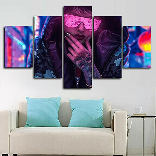 VYQDTNR - 5 Panel Canvas Wall Art 3D Printed Sci Fi Cyberpunk Tattoo Girl Painting Picture Poster Artwork for Living Room Bedroom Office Home Decoration Ready to Hang, Inner Framed