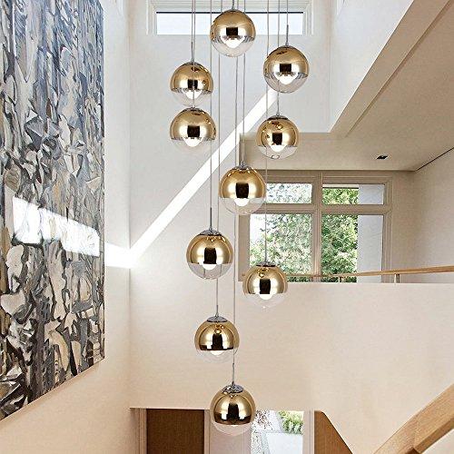 moderne Treppe Kronleuchter 10 Glaskugeln kreative Persönlichkeit Wohnzimmer Leuchte minimalistischen langen Pendelleuchte, 40 * 200 cm (Farbe : Gold)