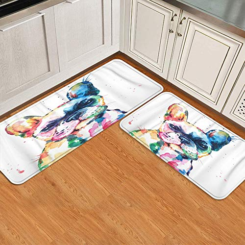 COVASA 2 Pieces Kitchen Rugs and Mats Set,Frenchie French Bulldog Original Watercolor of Dog Funny Happy,Non-Slip Soft Kitchen Mat Doormat Runner Rug for Entryway Kitchen Bedroom (17'x48'+17'x24')