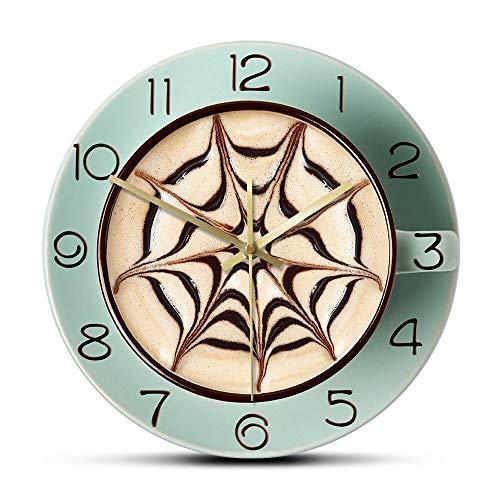 NIGU Día del miembro regalos para las mujeres Cafe Time Fresh Coffee Latter Silent Non-ticking Reloj de pared Cappuccino Foam Art Cocina Wall Art