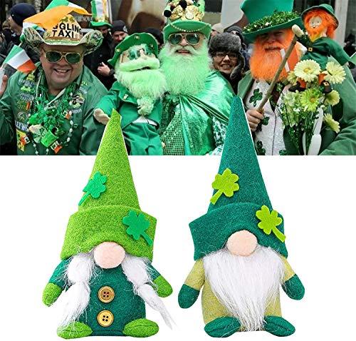Gnomo del día de San Patricio de peluche, muñecos irlandeses, duende nisse, figura de peluche verde trébol lindos adornos de muñecas sin rostro (B) (barba blanca)
