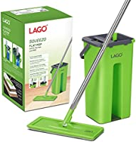 LAGO Flat MOP SQUEEZO with 3XL MOPHEAD (33cmx11.5 cm) and 3 Microfiber Carpet Pads, 126cm Stainless Steel Handle- Green,...