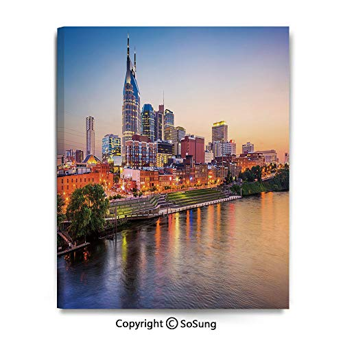 Wall Art Decor High Definition Cumberland River Nashville Tennessee Evening Architecture Travel Destination Painting Home Decoration Living Room Bedroom Background,16x24inch Multicolor