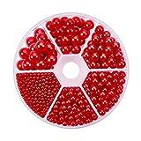 PandaHall Elite 1113 piezas de 2.5/4/5/6/7/8 mm sin agujeros/sin perforar perlas redondas accesorios para rellenar jarrón, boda, fiesta de cumpleaños, decoración del hogar, rojo, 6 tamaños mixtos