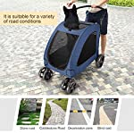 Pet Four-wheeled Stroller Dog Trolley Cat Carts Foldable for Medium Large Dogs Outgoing, Load Within 60kg (Blue) 9