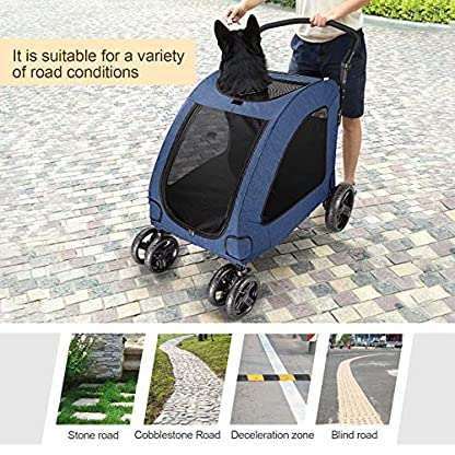 Pet Four-wheeled Stroller Dog Trolley Cat Carts Foldable for Medium Large Dogs Outgoing, Load Within 60kg (Blue) 2
