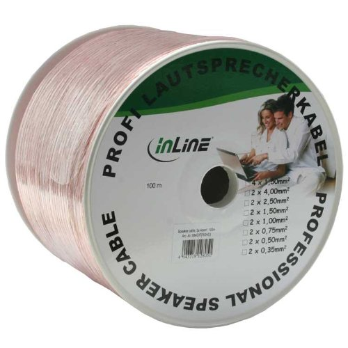 Inline-luidsprekerkabel, 2x 4mm2, CU, 50m, transparant