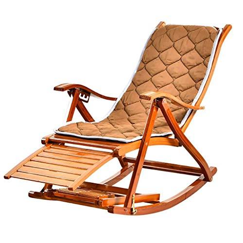 Sillas mecedoras para Patio, Marcos de Madera de bambú, Respaldo reclinable quíntuple, almohadillado y reposapiés, Patio Trasero, balcón, Porche, Piscinas