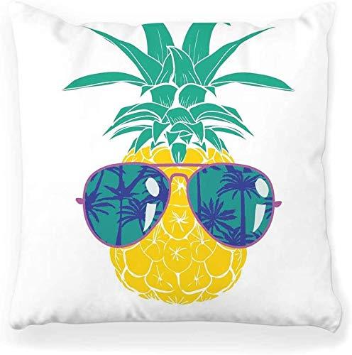 Funda de almohada decorativa Cuadrada 16x16 Piña Fruta Impresión de verano Dibujos animados Arte tropical Negro Azul Dibujo decorativo Decoración exótica para el hogar Funda de almohada con cremallera