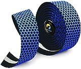 TOPCABIN Cinta para manillar de bicicleta, 2 ruedas, cómoda cinta para manillar de bicicleta urbana, de carretera, con tapones para barra (rejilla azul)