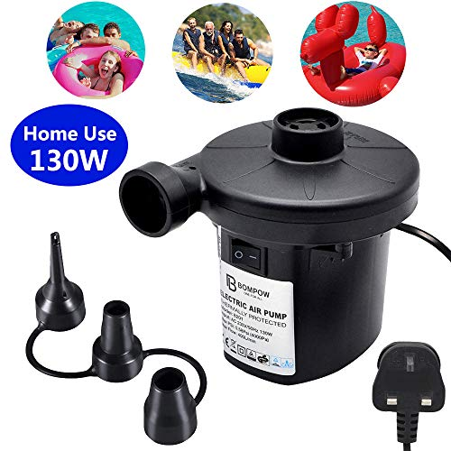 BOMPOW Electric Air Pump Inflate Deflate with 3 Nozzles, AC 230V / 130W Portable...
