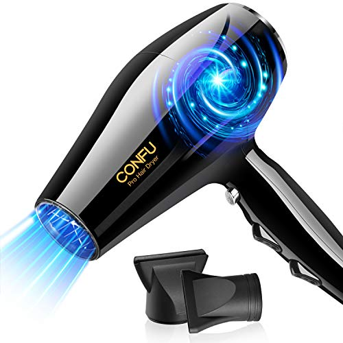 Professional Ionic Salon Hair Dryer, CONFU 1875 Watt Negative Ion Fast Drying Blow Dryer, Ceramic Tourmaline AC Motor Hairdryer with 2 Concentrator Nozzles - Hair Styling and Drying Tool