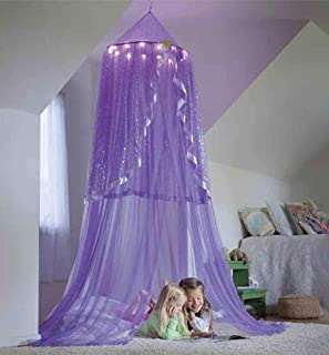 SANGNI Baby Kids Children Mosquito Net Protector,Bed Canopy Net for Playing Reading,Practical Round Dome Castle Tent Decor for Bedroom Living Room House Nursery,Hanging Netting Curtains (Purple)