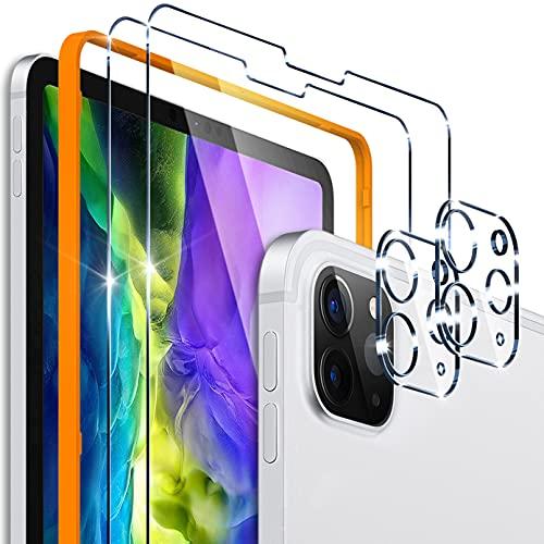 [2+2 Pack] UnqiueMe 2 Pack Schutzfolie für iPad Pro 11 2021 & 2020 Panzerglas und 2 Pack Schutzglas Kamera Schutz, Folie für iPad Pro 11 Displayschutz [Blasenfrei] HD Klar Gehärtetes Glas