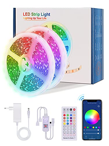 【20M WiFi】Alexa Tiras LED 20 metros, Lijun TikTok WiFi Tiras de LED Interior Multicolor Luces LED 5050 RGB con 360 LED Control Remoto, Modo Música Compatible con Alexa, Google Home, Tuya App