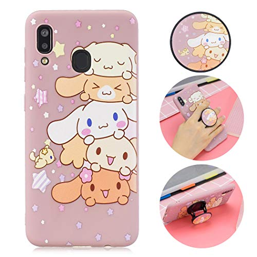 Leton Cute Cartoon Samsung Galaxy A20/A30 Case Silicone Soft Flexible TPU Ultra Thin Slim Shockproof Phone Case Creative Pattern Design with Ring Cover for Samsung Galaxy A20/A30 Pink Dog