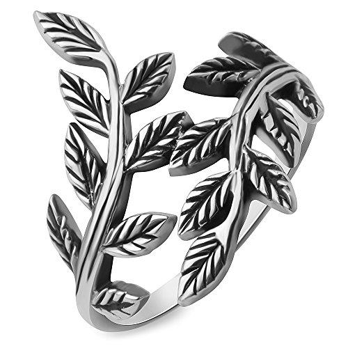 Chuvora 925 Oxidized Sterling Silver Filigree Bay Ivy Leaves Leaf Vine Vintage Design Women Ring Size 8