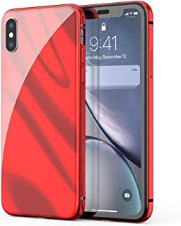 FiveADD Magnetic Case for iPhone Xs/X Built-in Tempered Glass Screen Protector Basic Cover Case Metal Frame (Red)