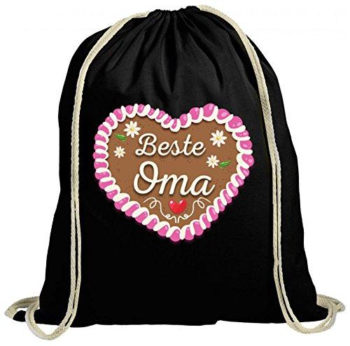 Geburtstags,- Muttertagsgeschenk Muttertag natur Turnbeutel Rucksack Gymsac Beste Oma - Oktoberfest Lebkuchenherz, Größe: onesize,schwarz
