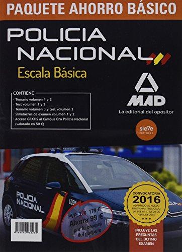 Paquete Ahorro BÁSICO Escala Básica Policía Nacional. (Temario volumen 1,2 y 3; Test volumen 1 y 2; Simulacros 1 y 2; acceso Campus Oro) Ahorra 99 €