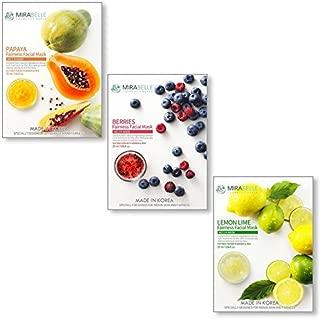 MIRABELLE COSMETICS KOREA Fairness Facial Mask (Papaya, Berries, Lemon-PBL-Combo Pack of 3)