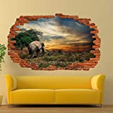 Pegatinas de pared Elefante Etiqueta de la pared Mural de arte 3D Póster de oficina Decoración