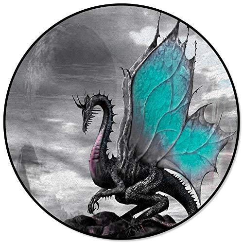 Alfombra Redonda Retro mágica del dragón Occidental para Sala de Estar, Dormitorio, Alfombrillas Antideslizantes para sillas para niños, Felpudo para habitación-M