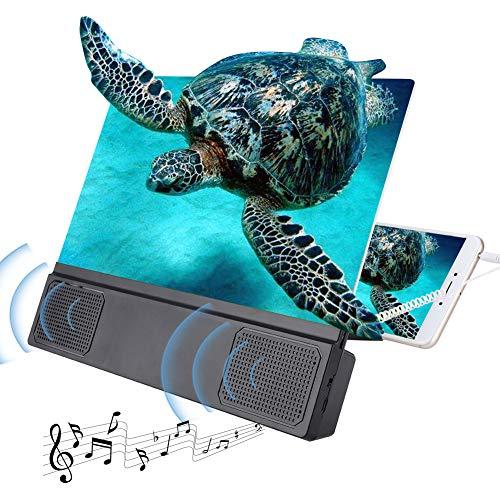 Tonysa 12 Zoll HD Bildschirmlupe, Handy Smartphone Lupe HD Objektiv, Anti-Strahlung Vergrößerer Bildschirm Video HD Repeater mit Lautsprecher für 3D Mobile Film, für alte Leute