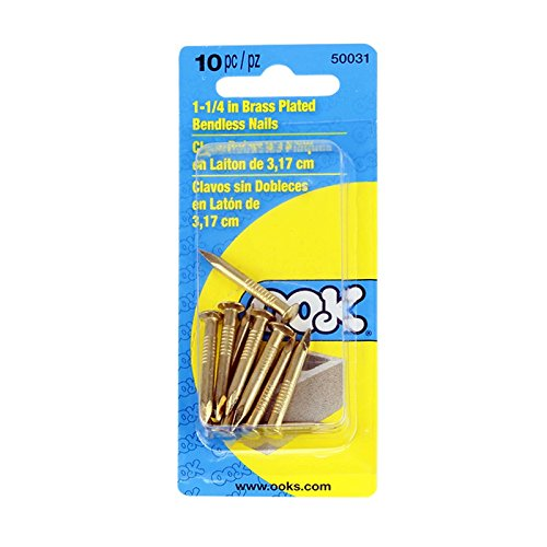 OOK 50031 10-pc 1-1/4' Bendless Nails for Hardwood Concrete Brick - Picture Frames, Clocks, Artwork, Photos