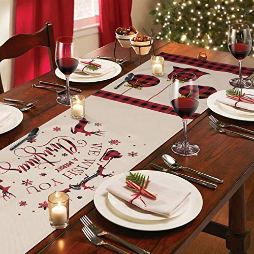 Alishomtll Merry Christmas Table Runner, Xmas Black and Red Buffalo Checkered Table Runner, Vintage Reindeer and Bell Linen Table Runner for Xmas Decoration, Dinner Parties, Gift, 14 x 72 inches