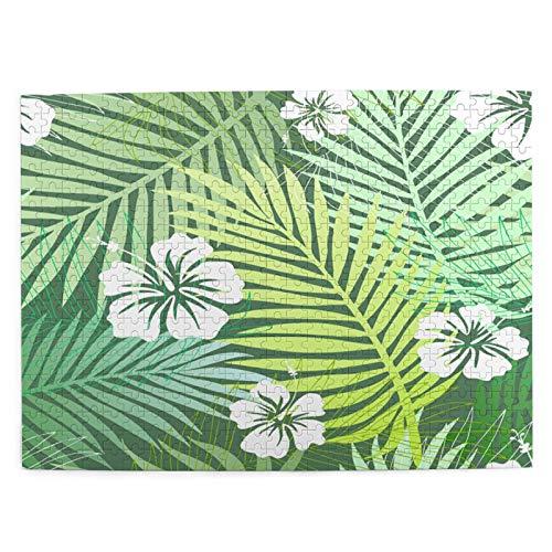 Rompecabezas Puzzle 500 Piezas Hojas de Palmera Tropical Verde con exóticas Blancas Inteligencia Jigsaw Puzzles para Adultos Niños Juegos