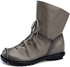 Womens Genuine Leather Casual Soft Flat Boots Grey
