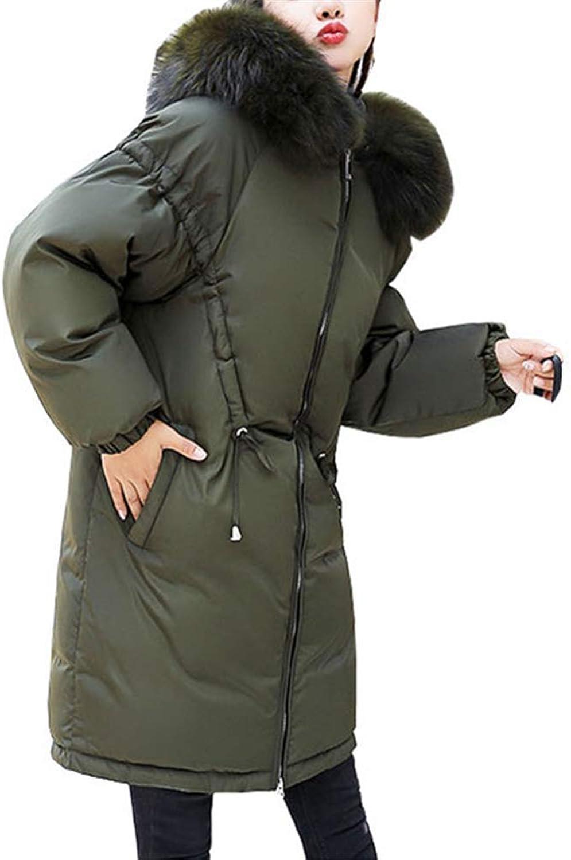 Loozo Winter Ladies Fashion Loose Fur Collar Hooded Warm Long 80% Duck Down Jacket