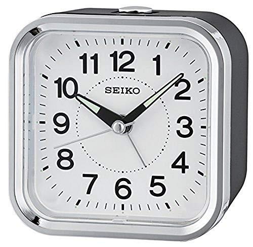 Seiko Analogue Alarm Clock, Unisex, Black QHE130K