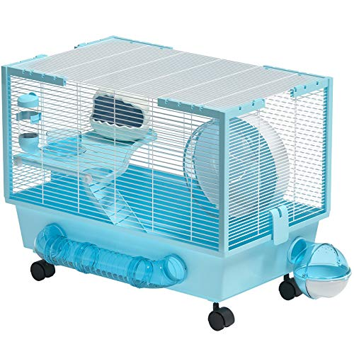 Hamster Cage Large Hamster Habitats Small Animal Cage for Syrian Hamster (Blue)
