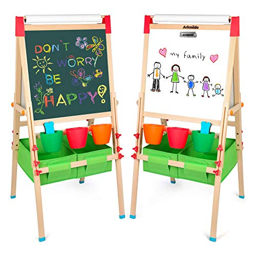Arkmiido Kids Easel with Paper Roll Double-Sided Whiteboard & Chalkboard Standing Easel...