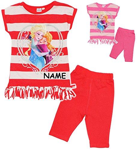 alles-meine.de GmbH 2 TLG. Set _ Top / Fransen T-Shirt & Kurze Hose -  Disney Frozen - die Eiskönigin  - incl. Name - Größe: 2 Jahre - Gr. 98 - als Sommerset / Strandbekleidung..