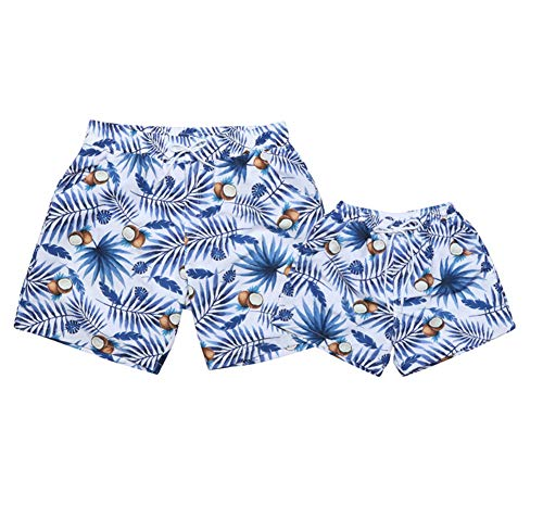 Father and Son Matching Swim Trunks Beach Swimwear Floral Swim Shorts for Men and Boys (2-3 T, Blue-1)