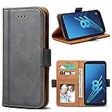 Bozon Galaxy A8 2018 Hülle, Leder Tasche Handyhülle Flip Wallet Schutzhülle für Samsung Galaxy A8 (2018) mit Ständer & Kartenfächer/Magnetverschluss (Dunkel-Grau)