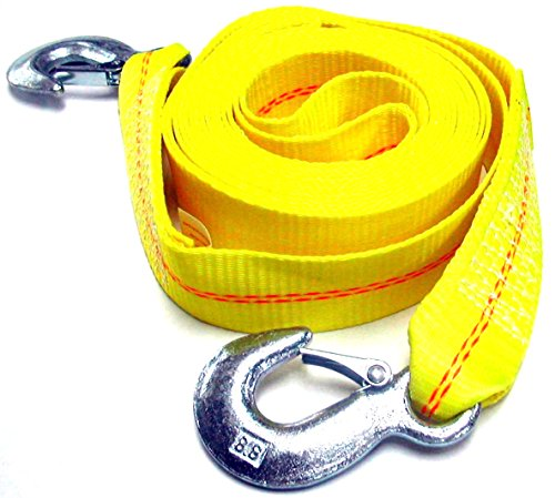 Hardware Factory Store HFS (R) 2' X 30', 4.5 Ton 2 Inch X 30 Ft. Polyester Tow Strap Rope 2 Hooks 10,000lb Towing Recovery