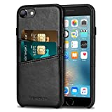 TENDLIN Compatible with iPhone SE 2020 Case/iPhone 8 Case/iPhone 7 Case Wallet Design with 2 Card Holder Slots Premium Leather Case (Black)