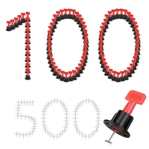Tile Leveling System Kits 100PCS & 500PCS 1/16 Inch Tile Spacers with 2 Wrenches, Reusable Flooring Level Tile levelers & Replaceable T-pin, DIY Wall & Floor Construction Tools by Tanek